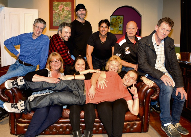 The cast of Ladies Night Peter Shaw (Gavin), Kris Davis (Norman), Ian Spratt (Barry), Peter Scarrott (Craig), Danny Joyce (Berny) Rob Walker (Graham), Larraine Heckingbottom (choreographer), Ngaire Pigram (Glenda), Alison Gibson (director) and Liam Scarrott (Wesley).