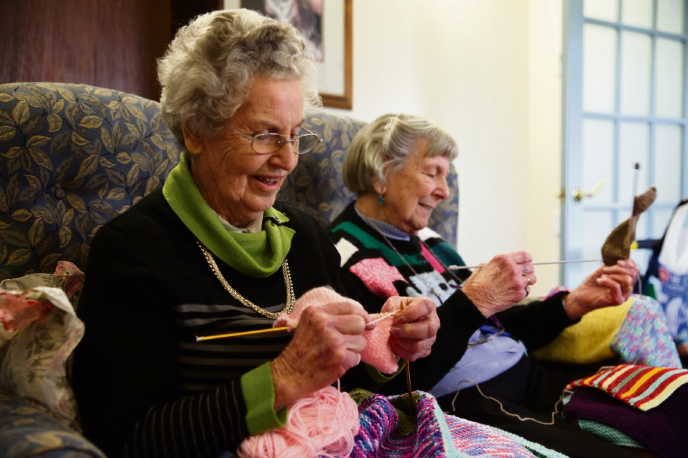 Mercy Place Edgewater residents and knitters Jean Collins and Mary Cramp. Picture: Martin Kennealey