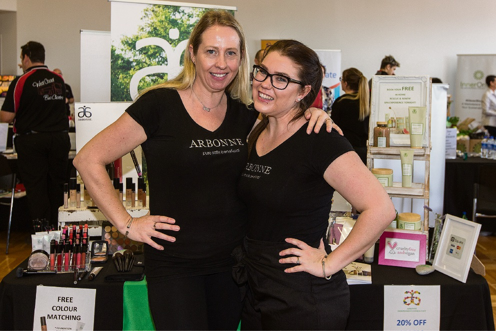 Natalie Bradley and Melanie Slade from Arbonne. Picture: Will Russell www.communitypix.com.au d473361
