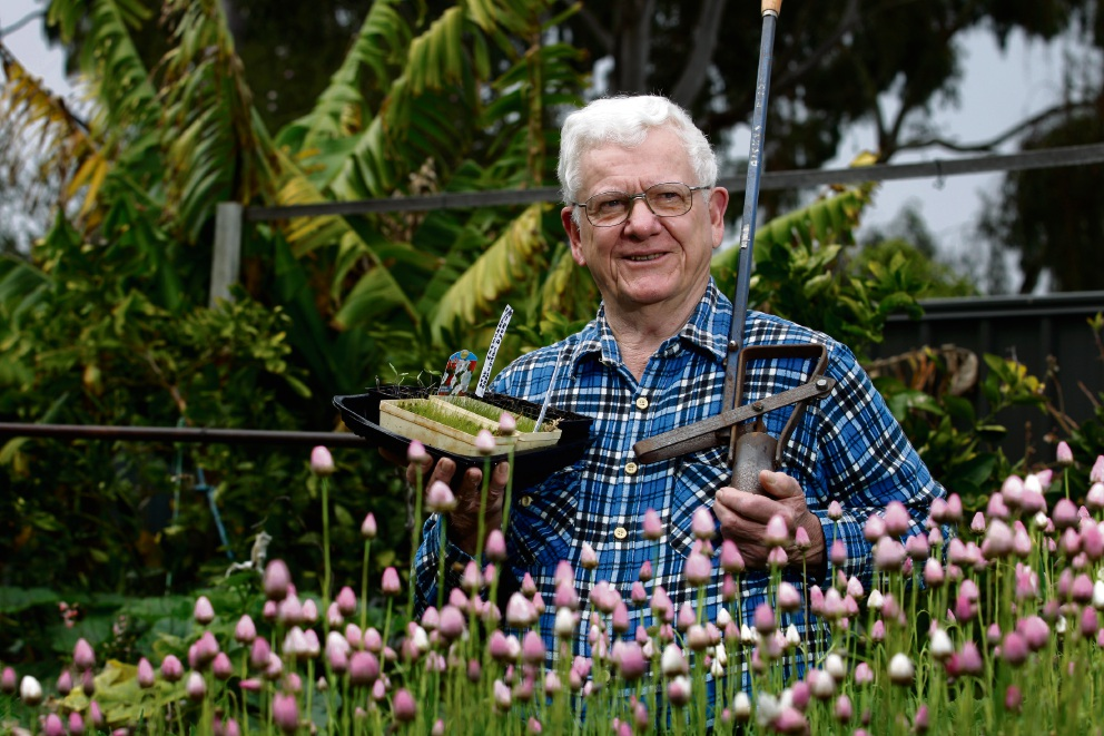 Max Risbey in his Rossmoyne garden . Picture: Marie Nirme www.communitypix.com.au   d473296