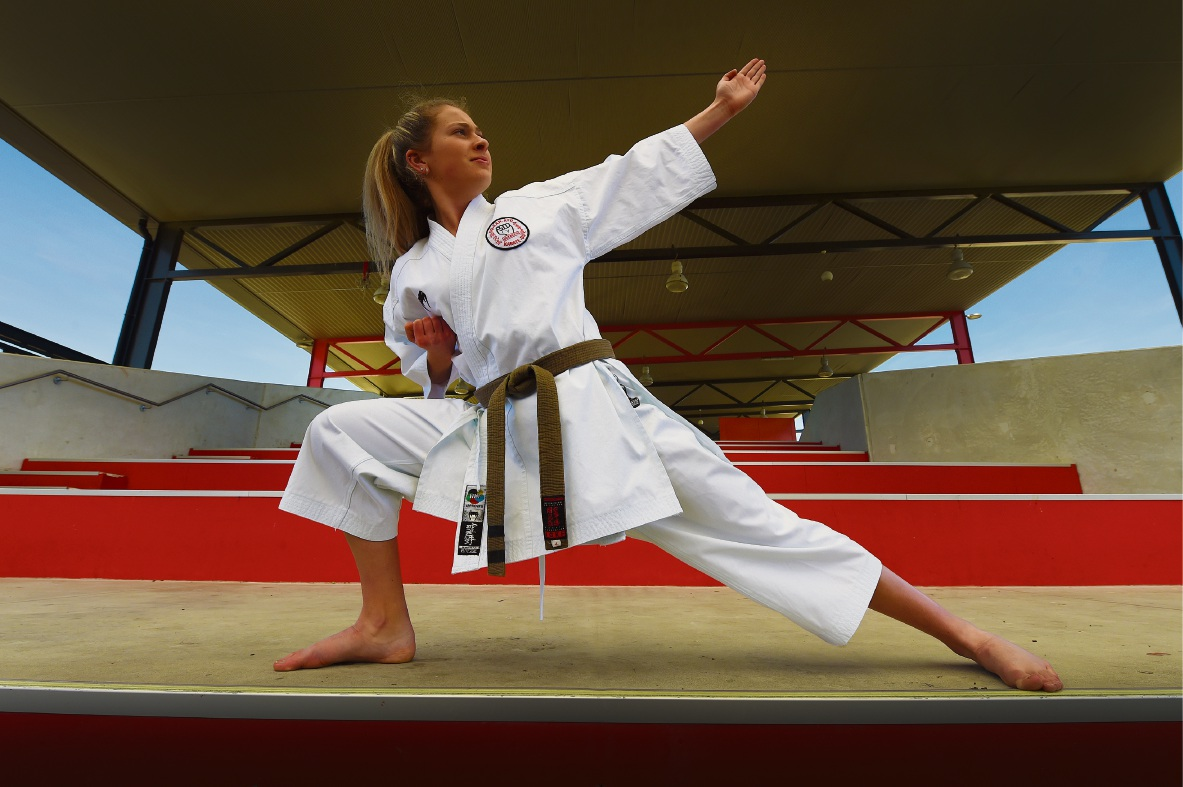 Giarne Brewer demonstrates the kata that enabled her to win a GKR world championships gold medal. Picture: Jon Hewson                                     d473410