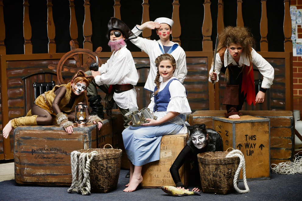 Dylan Cramer, Tom Jackson, Charlie Denvir, Lily Girdwood, Assisi Torre and Madeleine Blair are starring in North Cottesloe Primary School's production of Pirates of the Curry Bean.  Picture: Andrew Ritchie  d473398