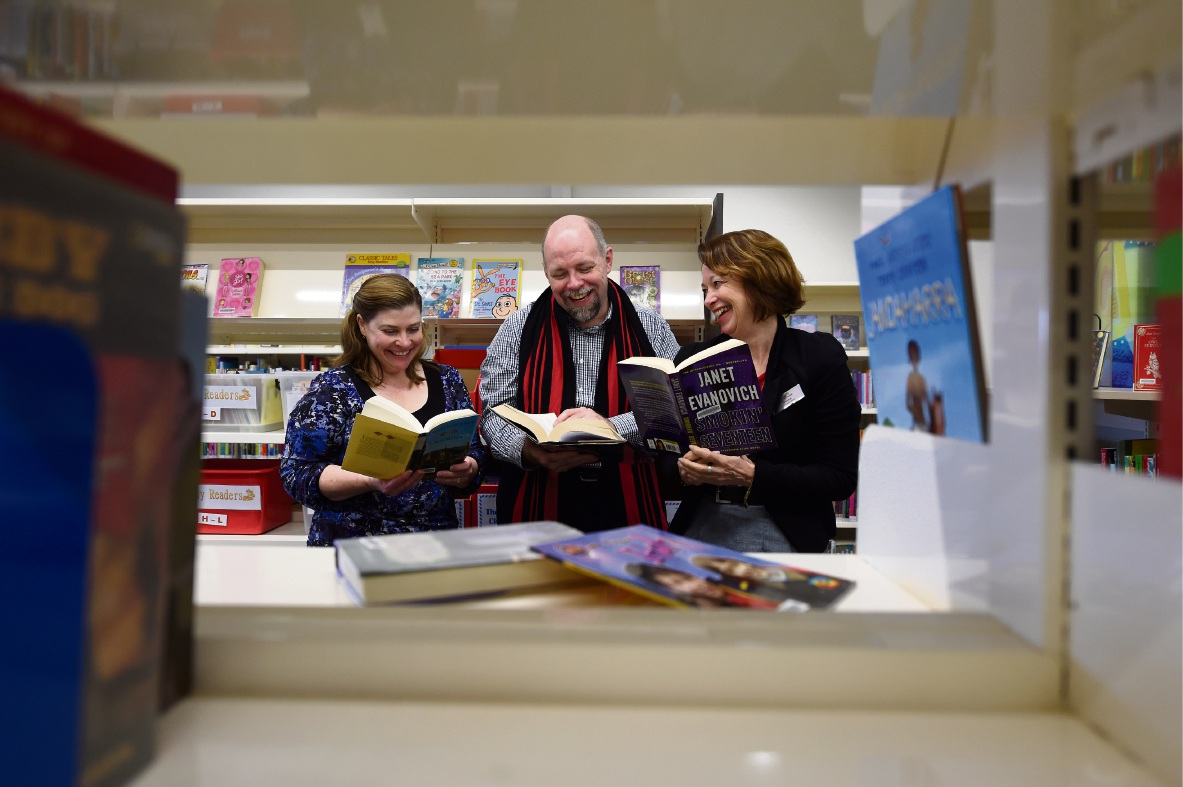 Tamara Wholey, library and heritage services manager Gareth Dixon and Sheena Bell. Picture: Jon Hewson