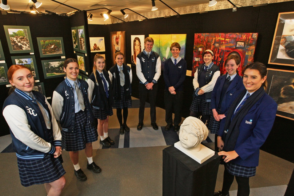 Students with some of their artwork displayed during the Arts Showcase. Picture: Bruce Hunt www.communitypix.com.au d473623