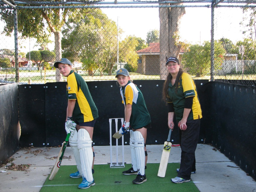 Hopeful cricketers Tahlia Richardson and Caylen Crook with Thornlie Cricket Club junior co-ordinator Jo-Ryan Smith.