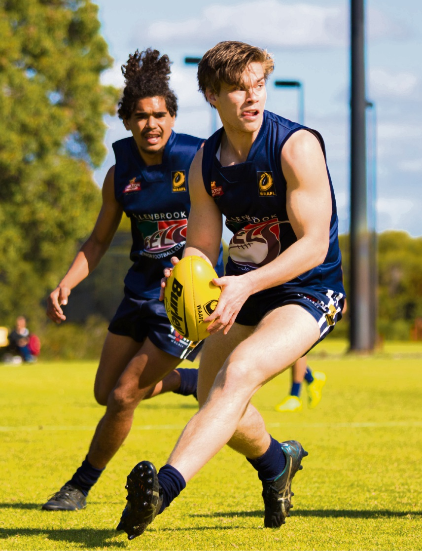 League forward Tom Antonio supported by his teammate Brennan Phillips. Picture:  Aaron Diss