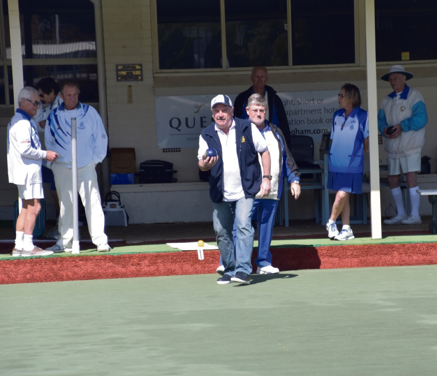Rockingham Bowling Club president John Lethlean with City of Rockingham Mayor Barry Sammels show off their bowling skills.