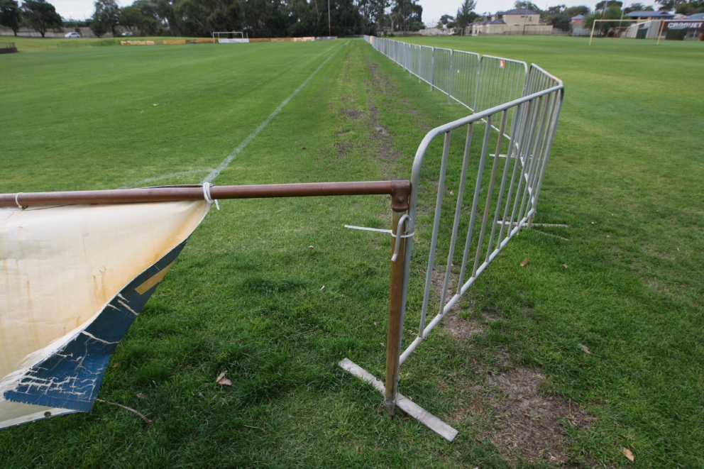 The temporary fence installed at Frank Drago Reserve.