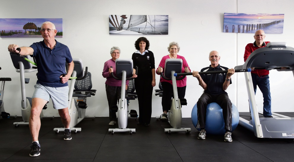 Seaside Exercise Physiology owner Yvonne Ritchie with some of her clients. Picture: Martin Kennealeywww.communitypix.com.au   d473514