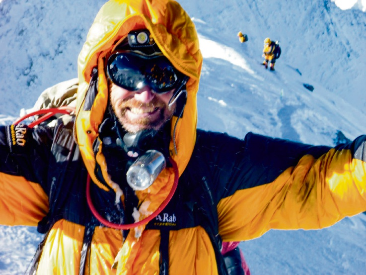 Kevin Farebrother at the summit of Mt Everest.