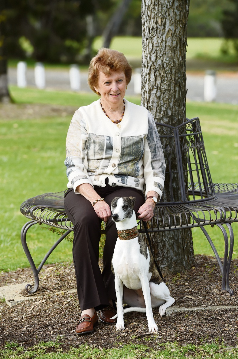 Dogs West president Pamela Campbell with her whippet Liza. Picture: Jon Hewson    d473722