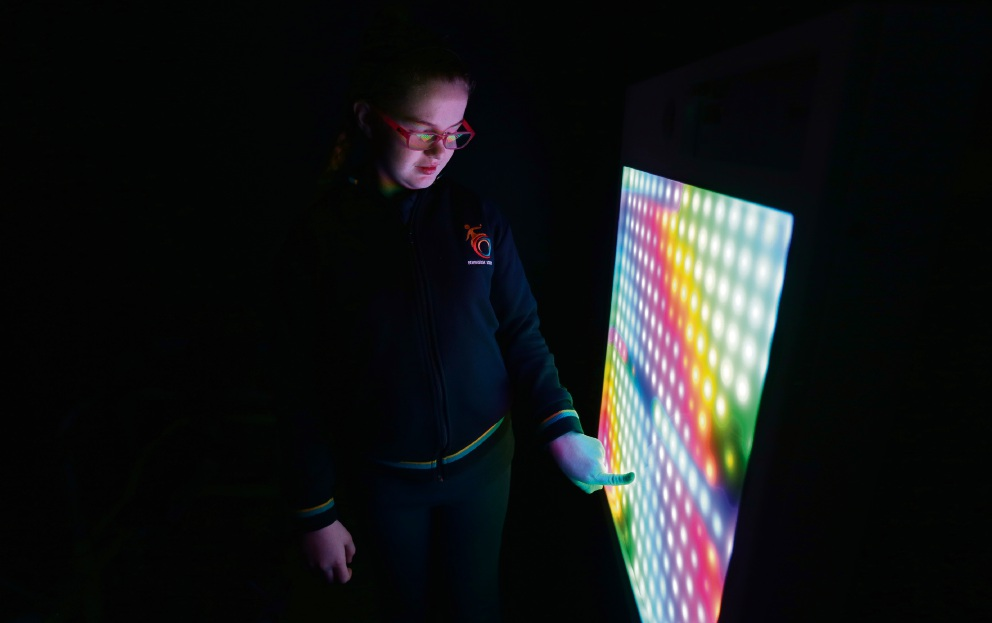 Year 7 student Jasmin Ball in the multi-sensory room Picture: Martin Kennealey d473086