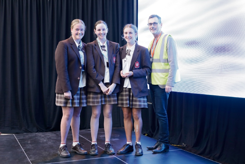 Best use of geo data years 7-9: Hannah Pulsford, Hannah Larsen and Lucy Burke with Landgate's Damian Shepherd.