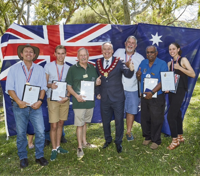 Melville Mayor Russell Aubrey with 2017 Australia Day Award Winners (left to right) Keith Daddow, Valen Bullivant, David Rechter, John Wigham, Rasa Subramaniam and Samantha Romeo.