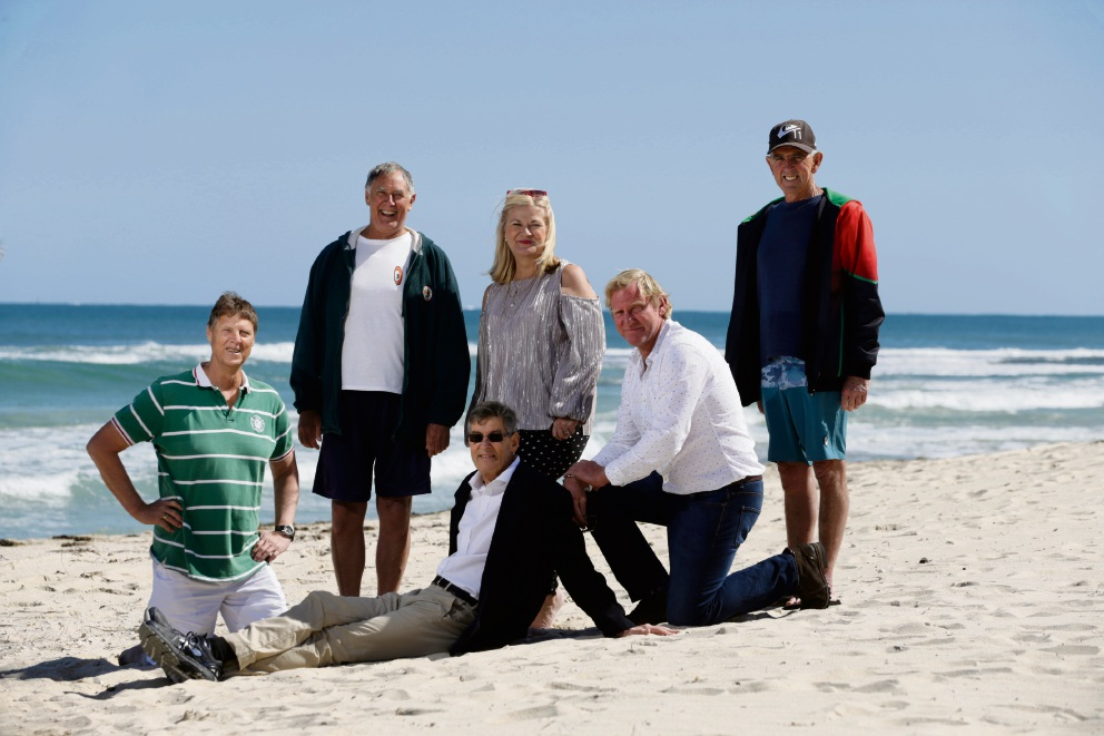 Les Lindsay (centre), who was resuscitated by his fellow Trigg SLSC Blue Hole swim group members Mike Deephouse,Peter Taylor, Vanessa Barby, Darren Mills and Mike Cook. Picture: Andrew Ritchie d473917