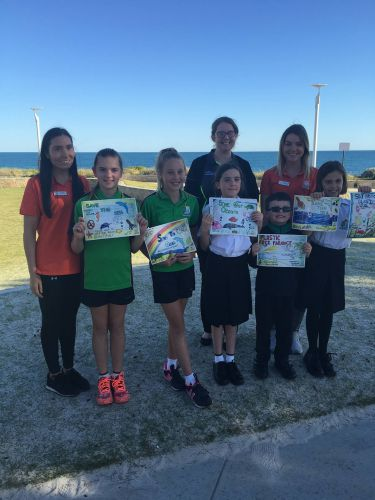 Coordinator Nicola Todd with students Shyan McNeair, Chloe Bird, Evie Sullivan, Harry Sullivan and Annabella Brett, and at back, City of Wanneroo waste education officer Emma Baker and educator Crystal-Lee Harrison.