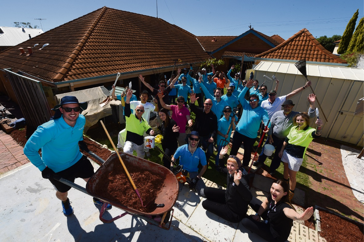 Lendlease had a team at Mission Australia's Youth Accommodation and Support Service in East Victoria Park doing some makeover and upgrade work on the facility. Picture: Jon Hewson www.communitypix.com.au d473785