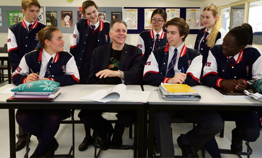 Nobel Laureate Barry Marshall with Year 12 science students Stephen Whitmore, Rachel Williams, Emily Guo, Joan van Zyl, Hannah Davies, Timothy Dugmore and Akim Lual. Picture: Martin Kennealey d473327