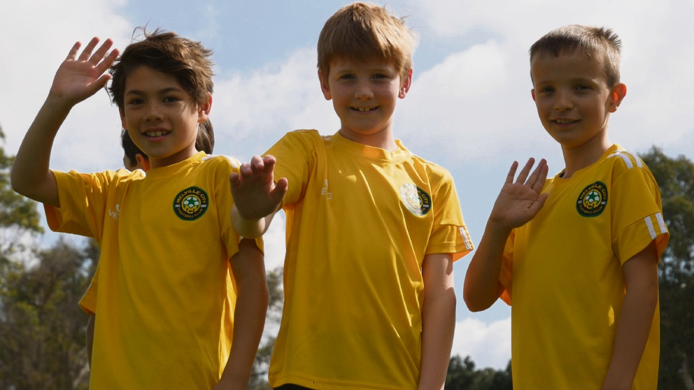 Melville City Football Club juniors Declan Scannell, Dylan Herbert and Leo Wain.