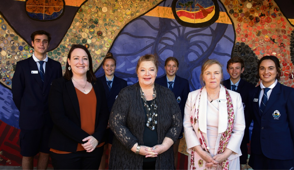 Benjamin Friis, Joondalup MLA Emily Hamilton, Shae Withers, Education Minister Sue Ellery, India-Rose Shephard, Principal Karon Brookes, Riley Gale and Madeli Bester. Picture: Martin Kennealey d473881
