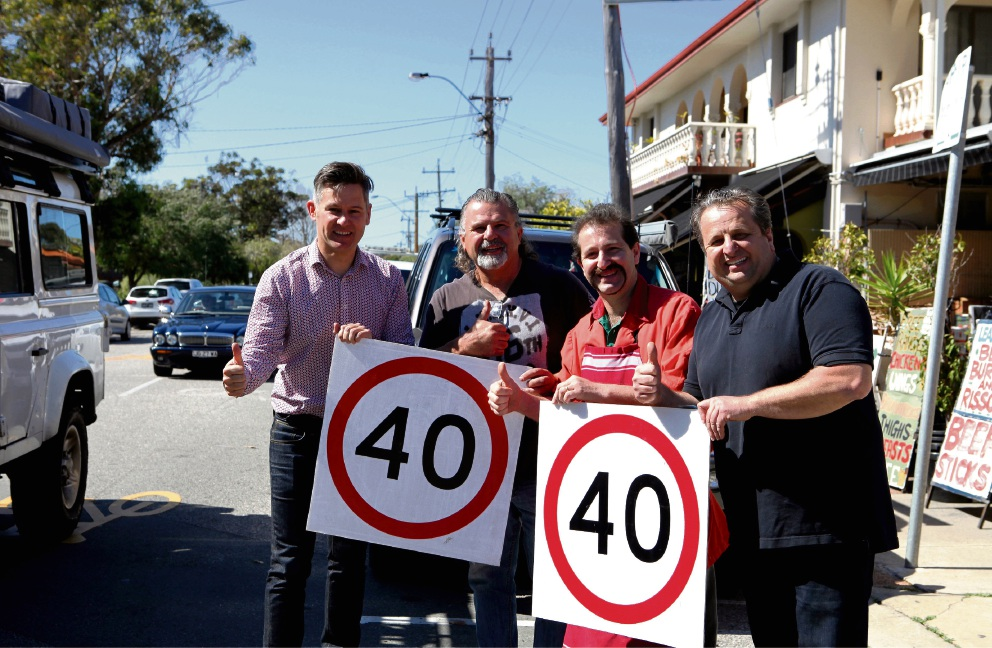 Fremantle mayor Brad Pettitt, Santo Galati, Frank Carbone and Sal Galati celebrate the lower posted speed limit