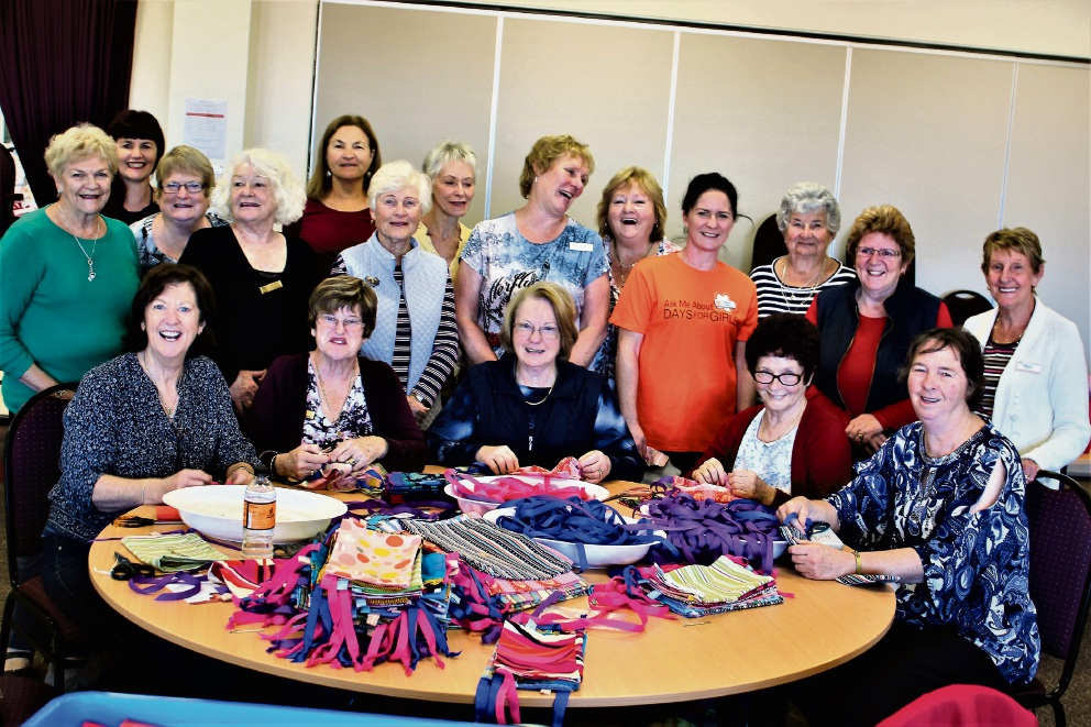 Soroptimist International Joondalup members making kits for Days for Girls.