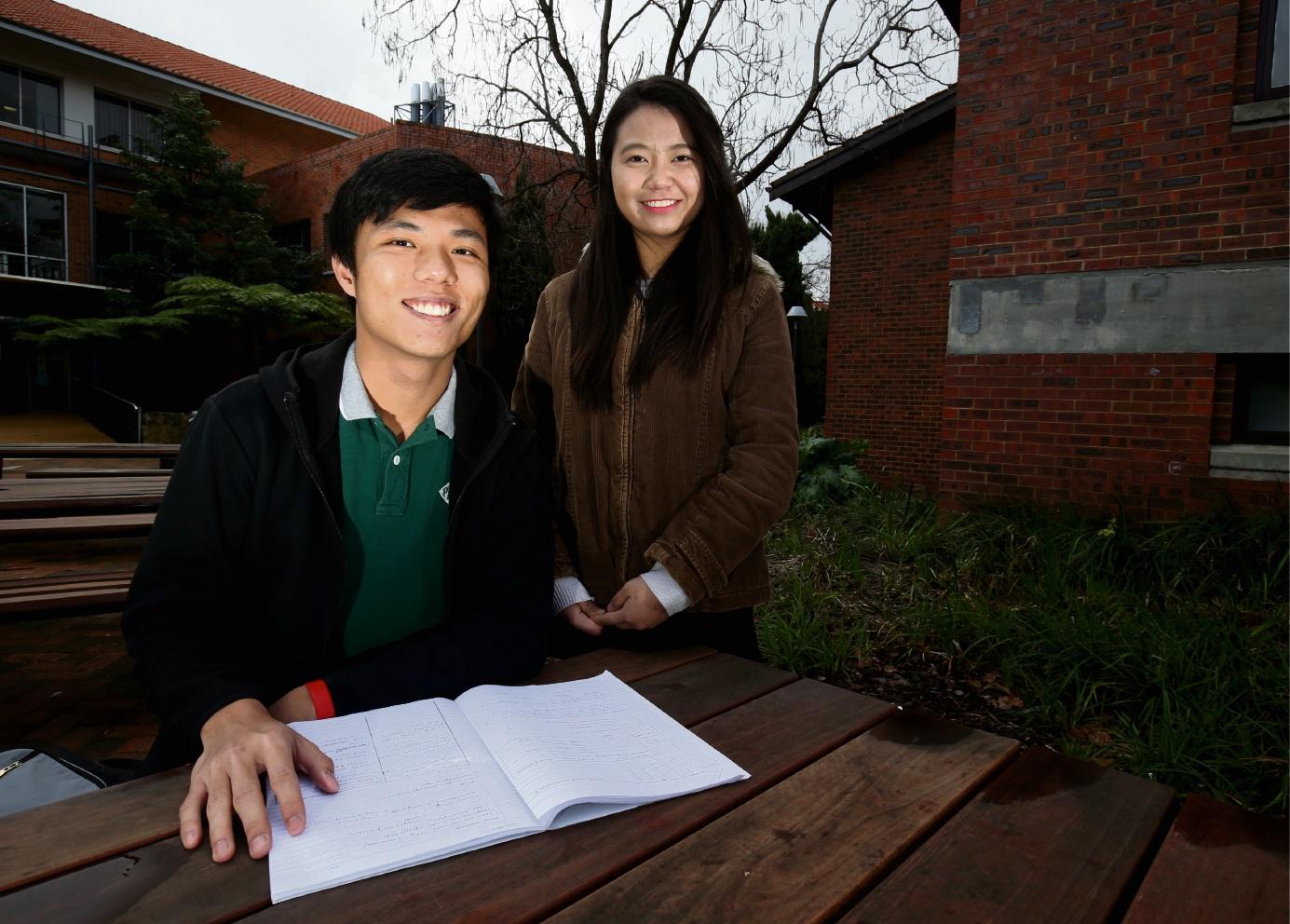 Curtin University students Joshua Wong and Michelle Lau.