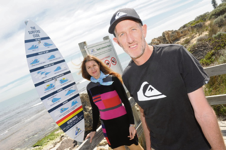 Cottesloe Longboard Club champion Jarrah Caulder and Cottesloe Council community development officer Sherilee Macready want surfers to read the wave rules. Picture: Jon Bassett.