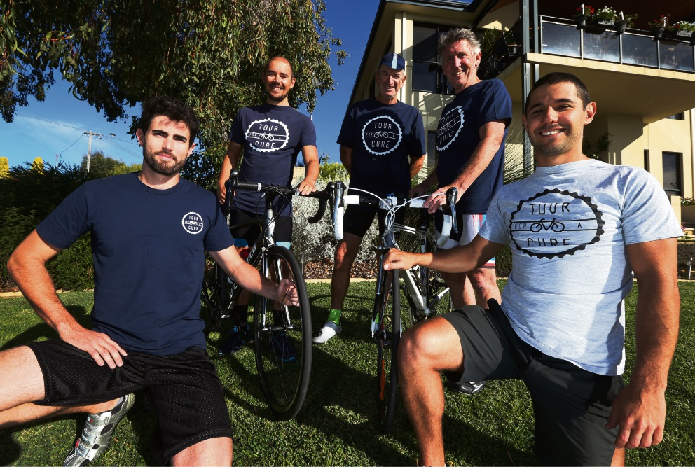 Kingsley's Cody Hudson (left) with friends Josh Gliddon, Ian Parsons, Mark Westbrook and Seb Dearle (Woodvale) who will ride from Melbourne to Perth to raise money for brain cancer research. Picture: Matt Jelonek d468615