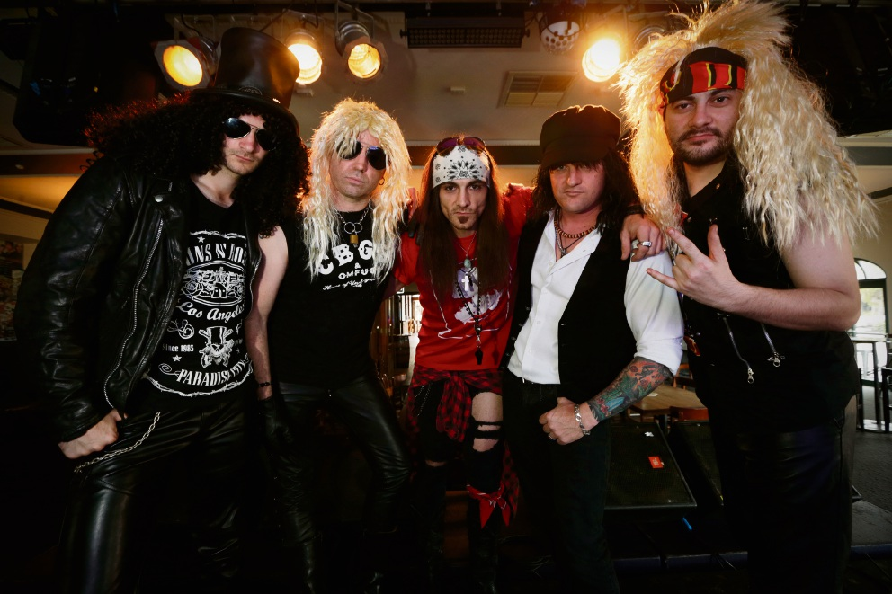 Lindsay Stronach-Bates, Paul Judge, Sal Abate, Michael Burke and Danny Torre from Guns N' Roses cover band Gunners. Picture: Andrew Ritchie