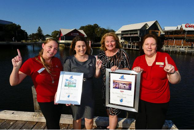 Sharryn Platt (Information Officer), Heather Christy (COM Team Leader), Mandurah Mayor Marina Vergone & Jenny Charles (Information Officer).
