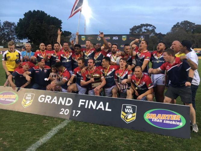Fremantle Roosters celebrates its NRLWA premiership win.