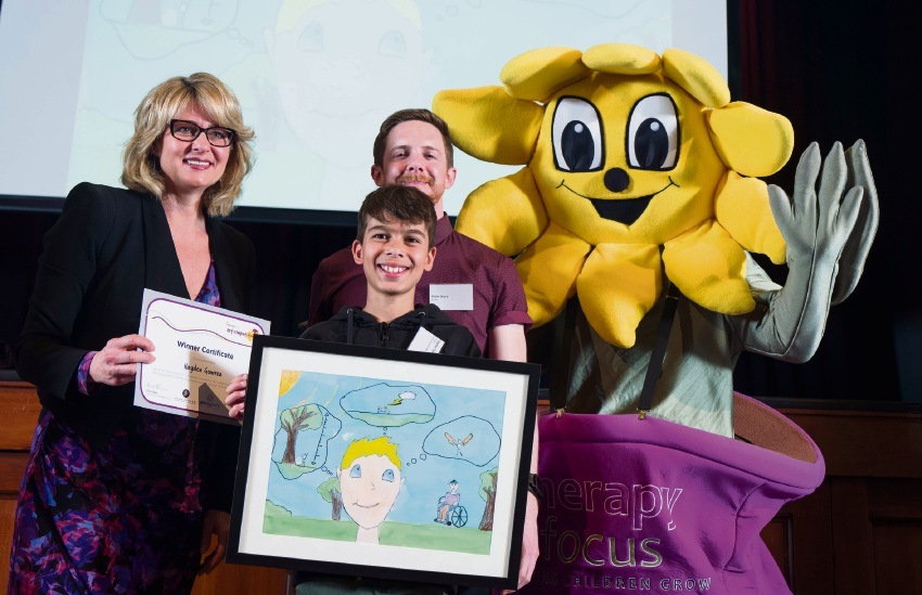 Therapy Focus board chairwoman Fiona Payne, Lake Joondalup Baptist College student Hayden Gowrea and author Eddie Drury.