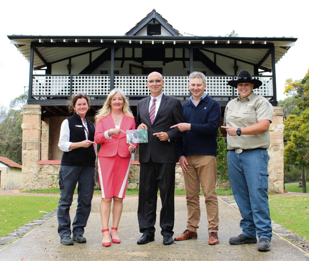 Yanchep National Park park manager Julia Coggins, Wanneroo Mayor Tracey Roberts, Butler MLA John Quigley, Swan Coastal District acting district manager Brett Fitzgerald and park ranger Phillipa Carboon.