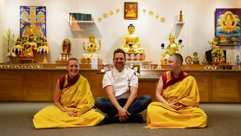 Meditation and a meal on Monday: Kelsang Ani, Scott Bridger (May Street Larder) and Kelsang Richog. Picture: Martin Kennealey    d473860
