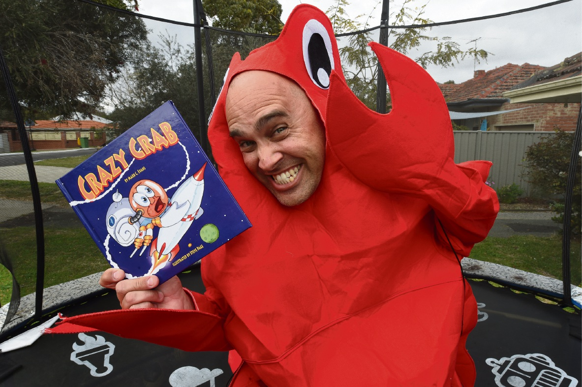 Mark Evans with his book Crazy Crab. Picture: Jon Hewson  d473787