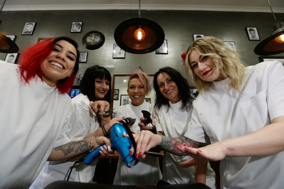Scarborugh Barber Shop's Whitney Fernandez, Mikayla Miles, Tracey Luders, Lisa Reid and Izzy Teixeira.