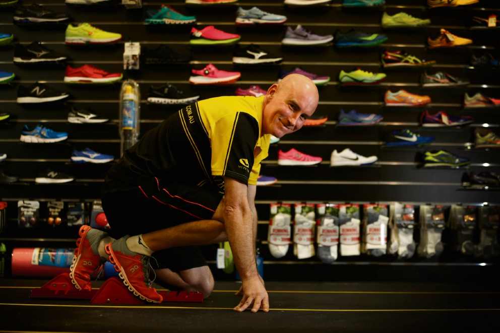 Bruce Hogg says it is important for runners to have their shoes individually fitted. Picture: Andrew Ritchie www.communitypix.com.au   d473608