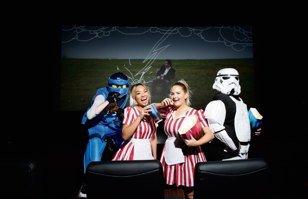 Getting ready for the opening of the new Event Cinemas are staff members Jerry Oliveeri (as Lego Ninjago), Aarene Adoptanta, Paige Bonannella and Nathan Di Giovanni (as a Storm Trooper). Picture: Marie Nirme d474055