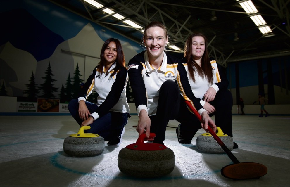 Part of the Australian World Mixed Curling Championships team are WA-based Michelle Fredericks-Armstrong, Helen Williams and Ashleigh Street. Picture: Marie Nirme www.communitypix.com.au d472717