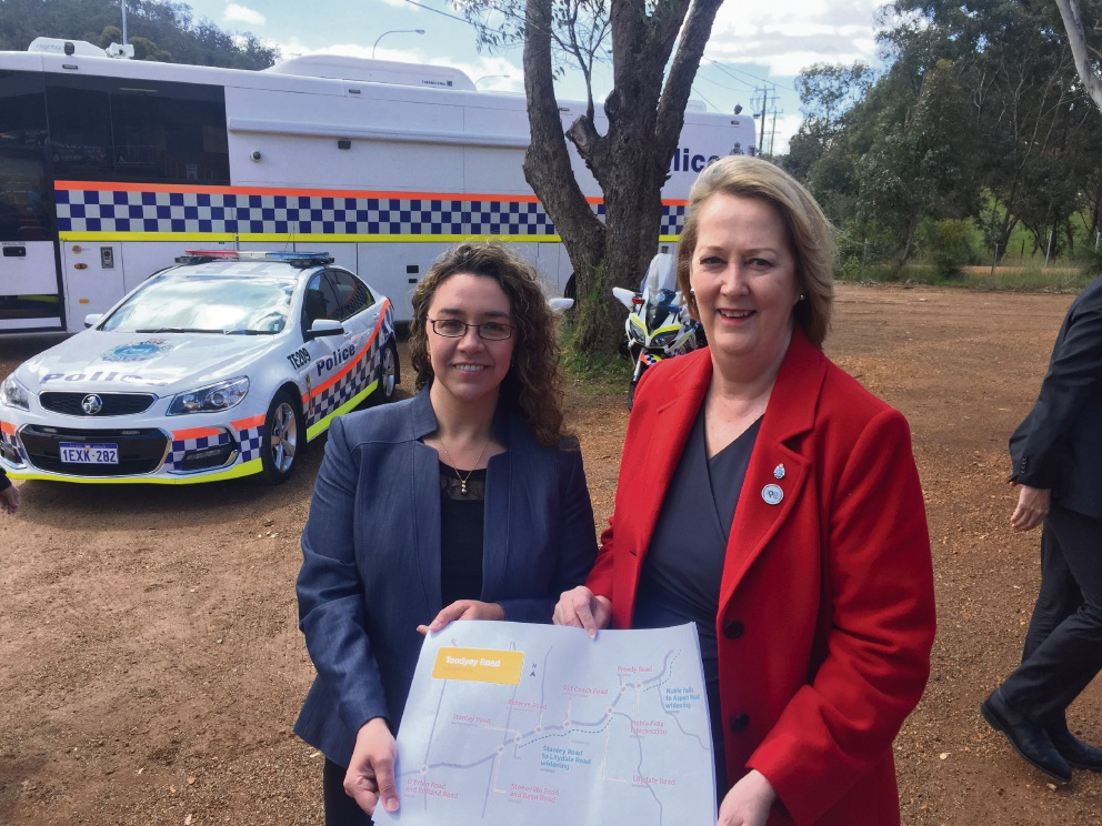 Michelle Roberts and Jess Shaw at the accident blackspot. Picture: Supplied