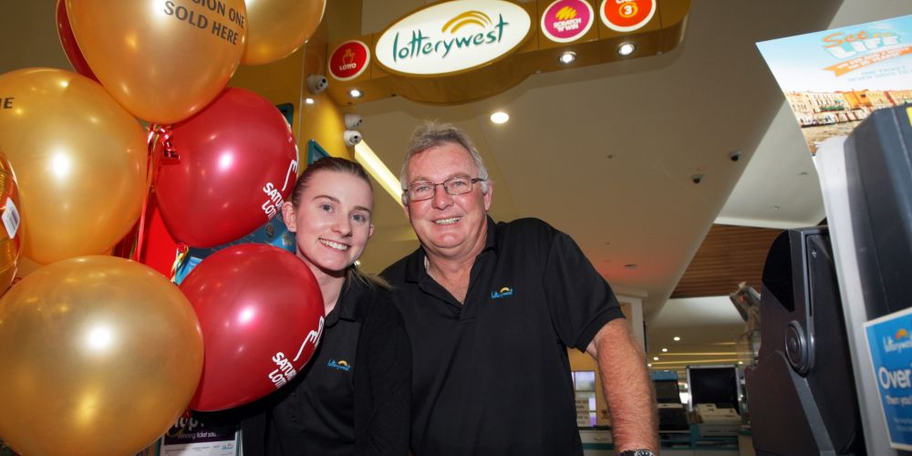 Midland Gate Lottery Kiosk's Lance McCrae and daughter Ellie. Photo: Bruce Hunt