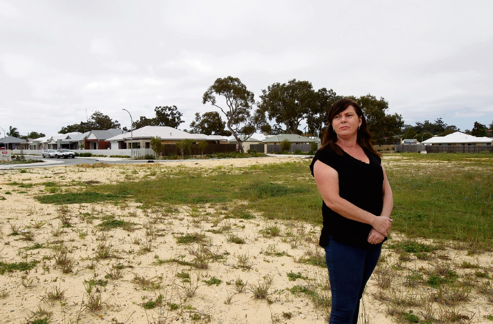 Girrawheen resident Sonia Garcia pictured on the site planned to have multi-level housing going up. Picture: Marie Nirme d474112