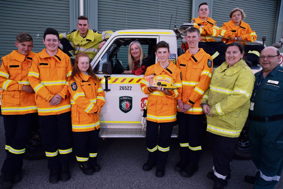 Quinns Rocks Bushfire Brigade cadets Benn Marshall, Will Wyatt,Richard Moon (coach), Tahlia Andrews, Wanneroo Mayor Tracey Roberts, Jay Dwyer (team captain), Brendan Williams, Martin Moon, Jess Napier (manager), Jamie Marshall and Scott Russell (cadet co-ordinator). Picture: Martin Kennealey