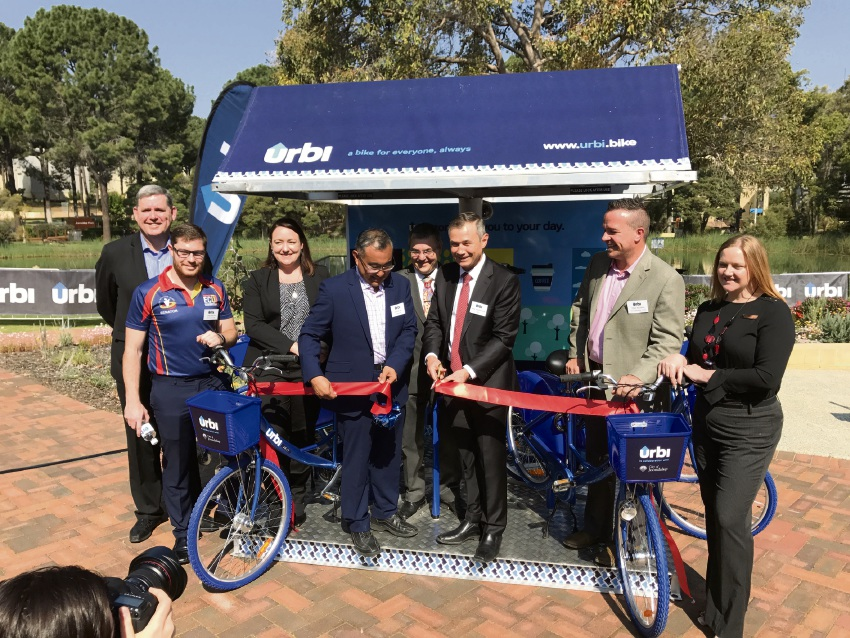 Urbi head domestique officer Ken Travers, ECU Guild President Sam Martyn, Joondalup MLA Emily Hamilton, urbi founder Adrian Lee, ECU Vice-Chancellor Steve Chapman, Deputy Premier Roger Cook, Joondalup Mayor Troy Pickard and Kingsley MLA Jessica Stojkovski.