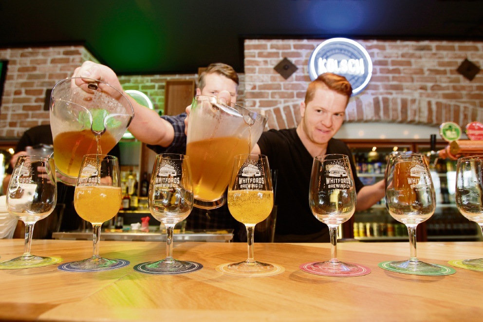 The very first beers are being poured at Whitfords Brewing Co. at Westfield Whitford City new dining and entertainment hub. Picture: Marie Nirme d474221