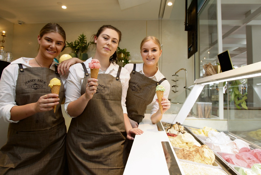 Joanna Alexandre, Kalani Ross and Elyse Krsanac at Jersey Jack Gelato are ready to serve at Westfield Whitford City's new dining and entertainment hub. Picture: Marie Nirme d474221