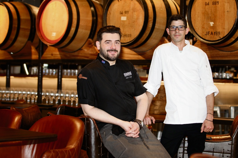 Hunter & Barrel's executive chef Peter Popow and head chef Tim Lee at their new establishment, part of Westfield Whitford City's new dining and entertainment hub. Picture: Marie Nirme d474221