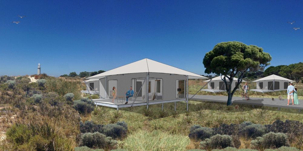 An artist's impression of the eco-tents available at Pinky's Eco Retreat.