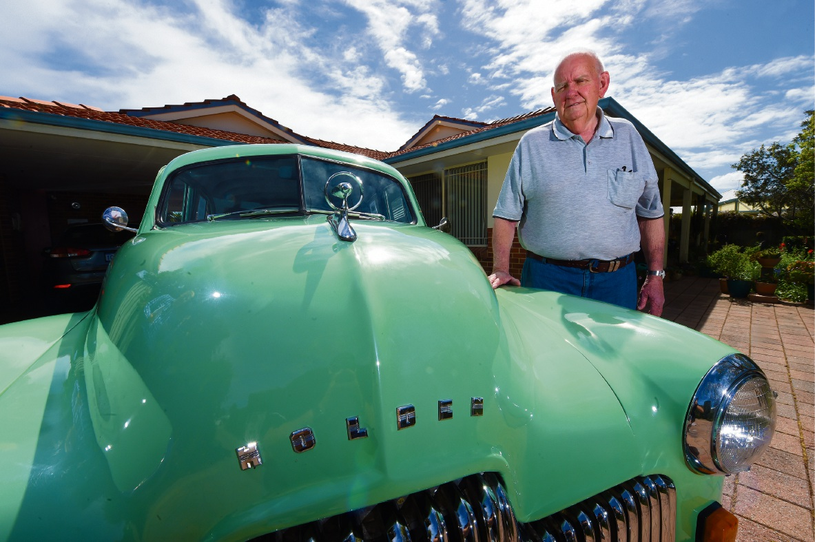 Ross O'Neil with his restored Holden 48-215 which has been making the rounds at local car shows. Picture: Jon Hewson www.communitypix.com.au   d474152